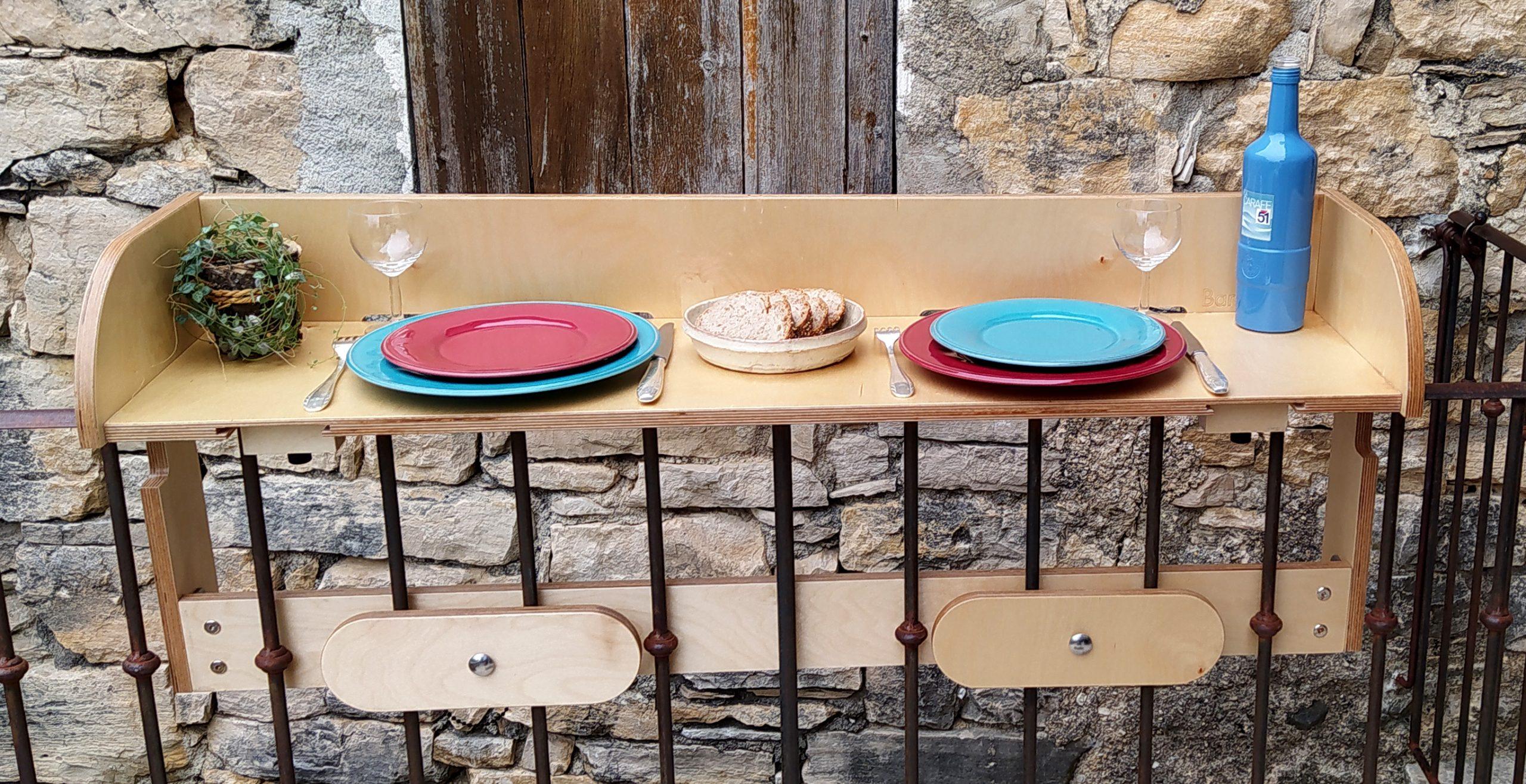 baracood 1200 natural table bar pour balcon